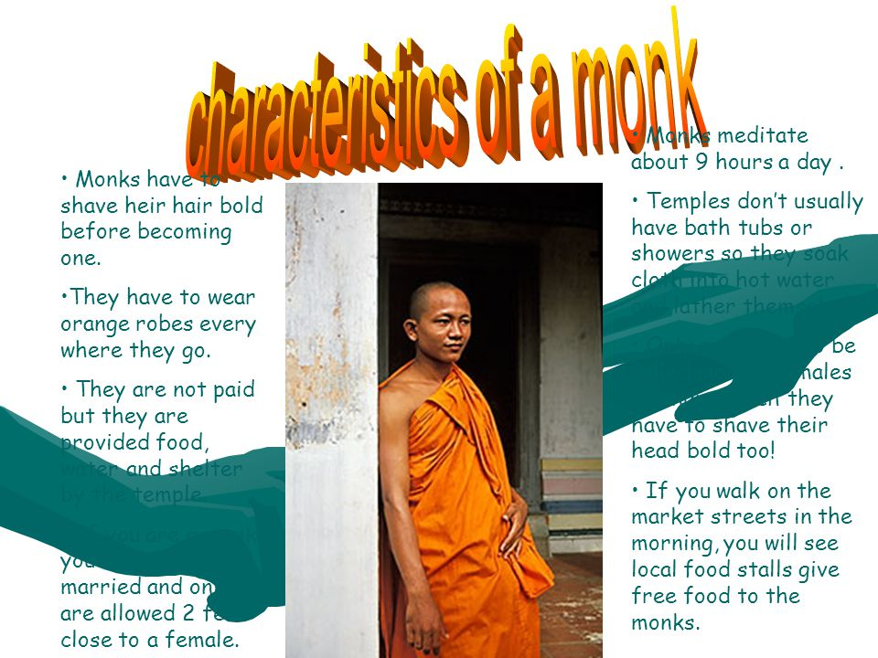 Monks have to shave heir hair bold before becoming one. They have to wear orange robes every where they go. They are not paid but they are provided fo