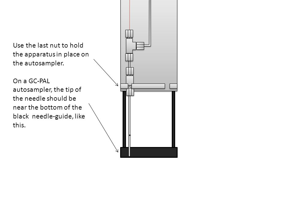 Use the last nut to hold the apparatus in place on the autosampler.