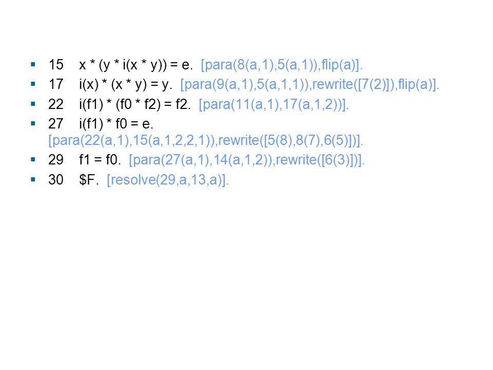  15 x * (y * i(x * y)) = e. [para(8(a,1),5(a,1)),flip(a)].