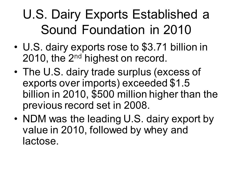 U.S. Dairy Exports Established a Sound Foundation in 2010 U.S.