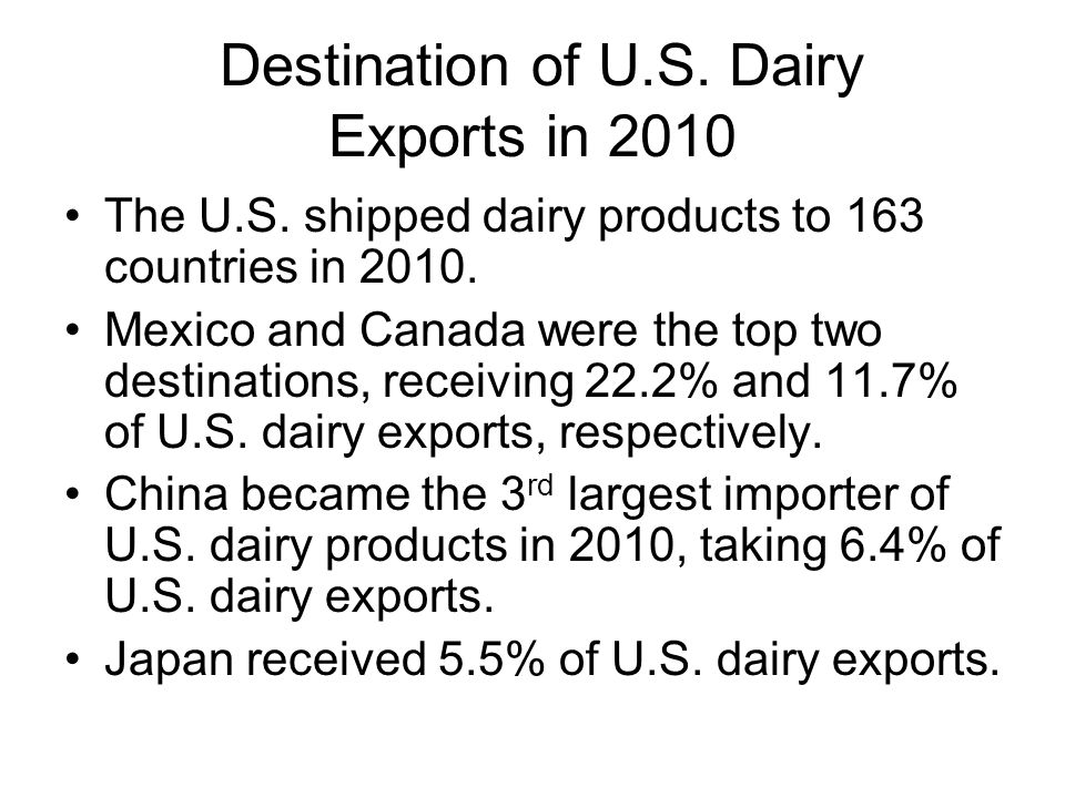Destination of U.S. Dairy Exports in 2010 The U.S.