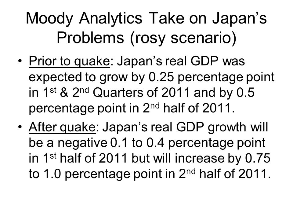Moody Analytics Take on Japan's Problems (rosy scenario) Prior to quake: Japan's real GDP was expected to grow by 0.25 percentage point in 1 st & 2 nd Quarters of 2011 and by 0.5 percentage point in 2 nd half of 2011.