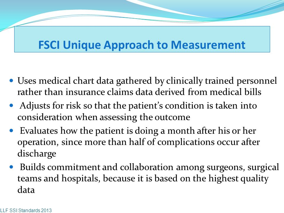 FSCI Unique Approach to Measurement Uses medical chart data gathered by clinically trained personnel rather than insurance claims data derived from me