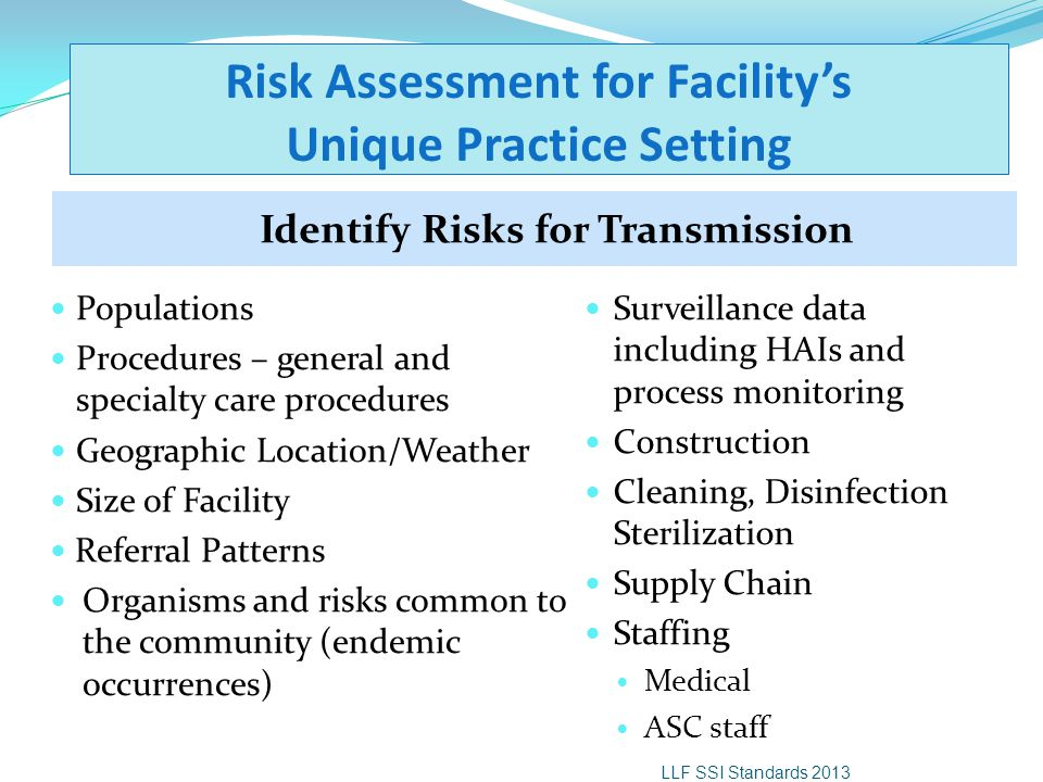 Risk Assessment for Facility's Unique Practice Setting Identify Risks for Transmission Populations Procedures – general and specialty care procedures