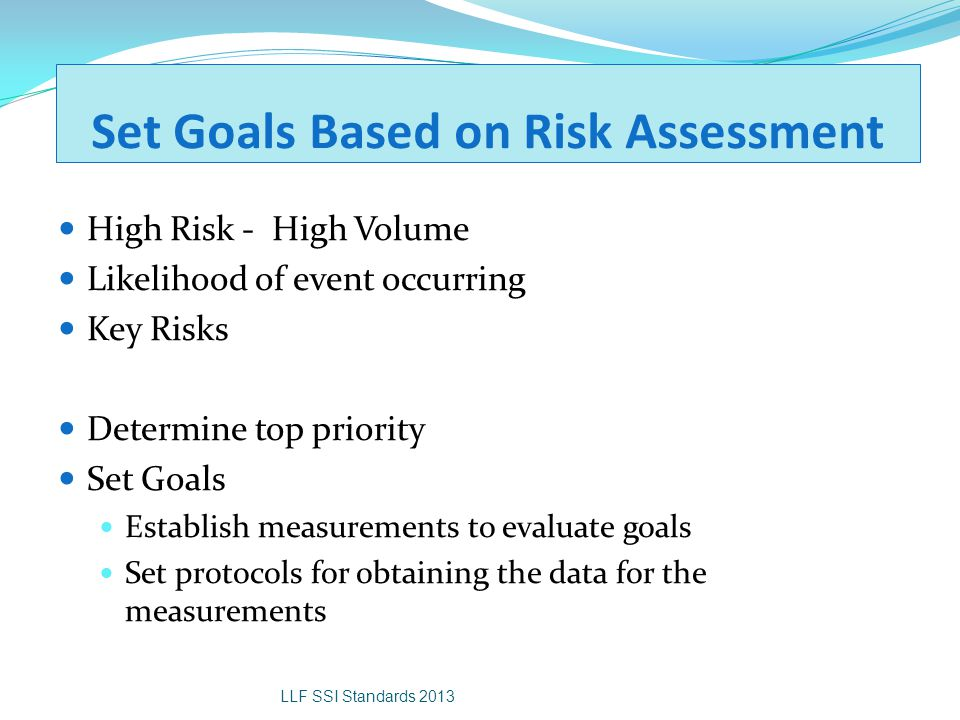 Set Goals Based on Risk Assessment High Risk - High Volume Likelihood of event occurring Key Risks Determine top priority Set Goals Establish measurem