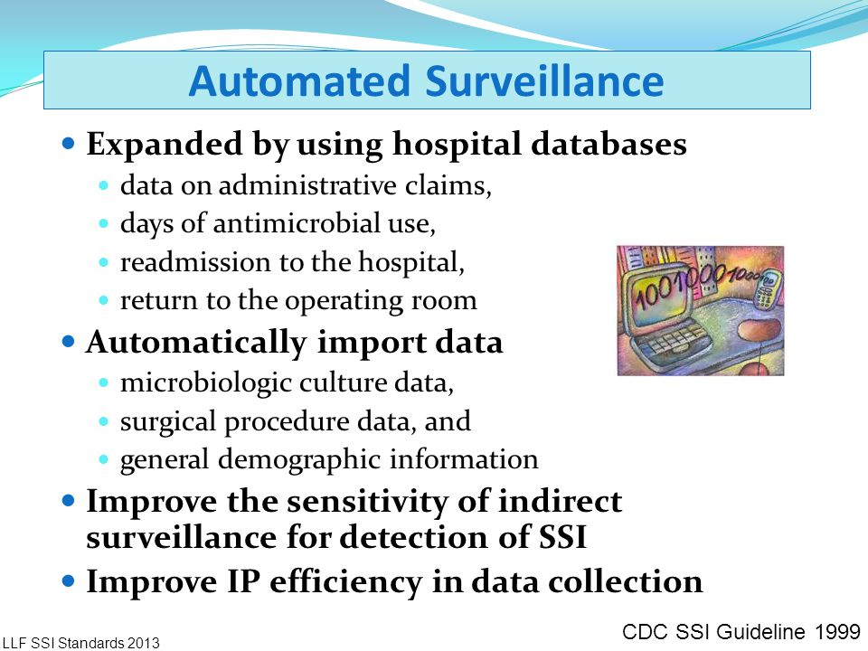 Automated Surveillance Expanded by using hospital databases data on administrative claims, days of antimicrobial use, readmission to the hospital, ret
