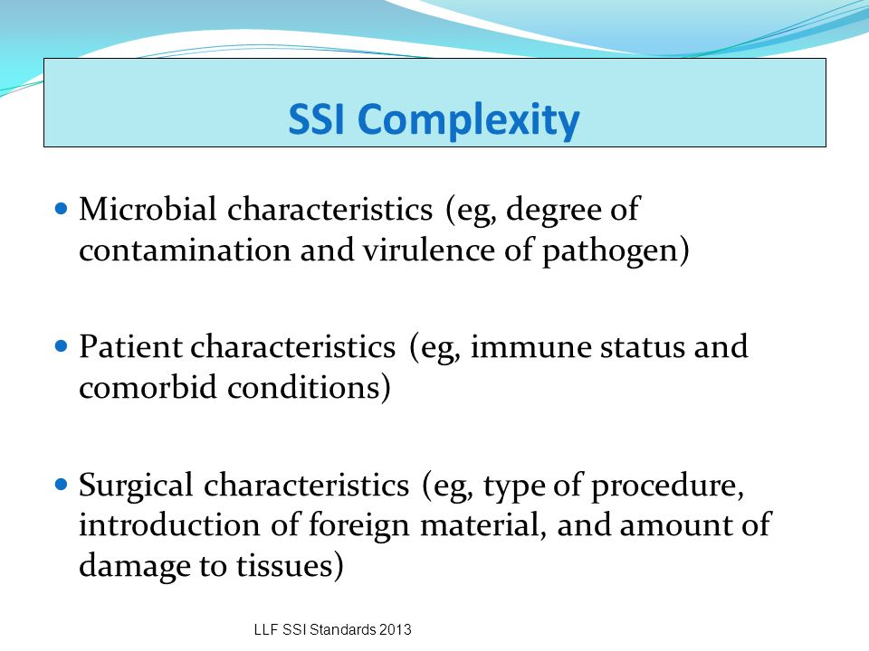 SSI Complexity Microbial characteristics (eg, degree of contamination and virulence of pathogen) Patient characteristics (eg, immune status and comorb