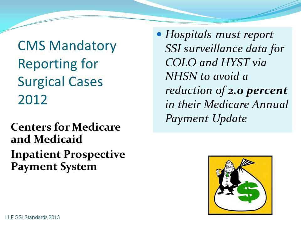 CMS Mandatory Reporting for Surgical Cases 2012 Centers for Medicare and Medicaid Inpatient Prospective Payment System Hospitals must report SSI surve