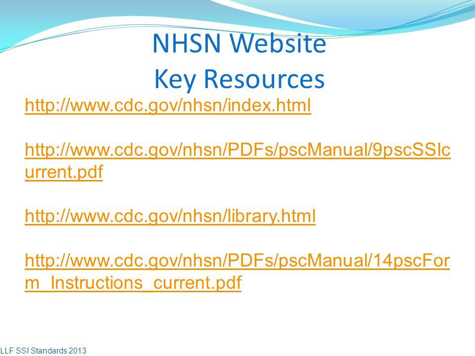 NHSN Website Key Resources LLF SSI Standards 2013 http://www.cdc.gov/nhsn/index.html http://www.cdc.gov/nhsn/PDFs/pscManual/9pscSSIc urrent.pdf http:/