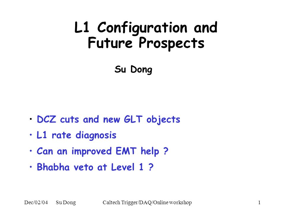 Dec/02/04 Su DongCaltech Trigger/DAQ/Online workshop1 L1 Configuration and Future Prospects DCZ cuts and new GLT objects L1 rate diagnosis Can an improved EMT help .