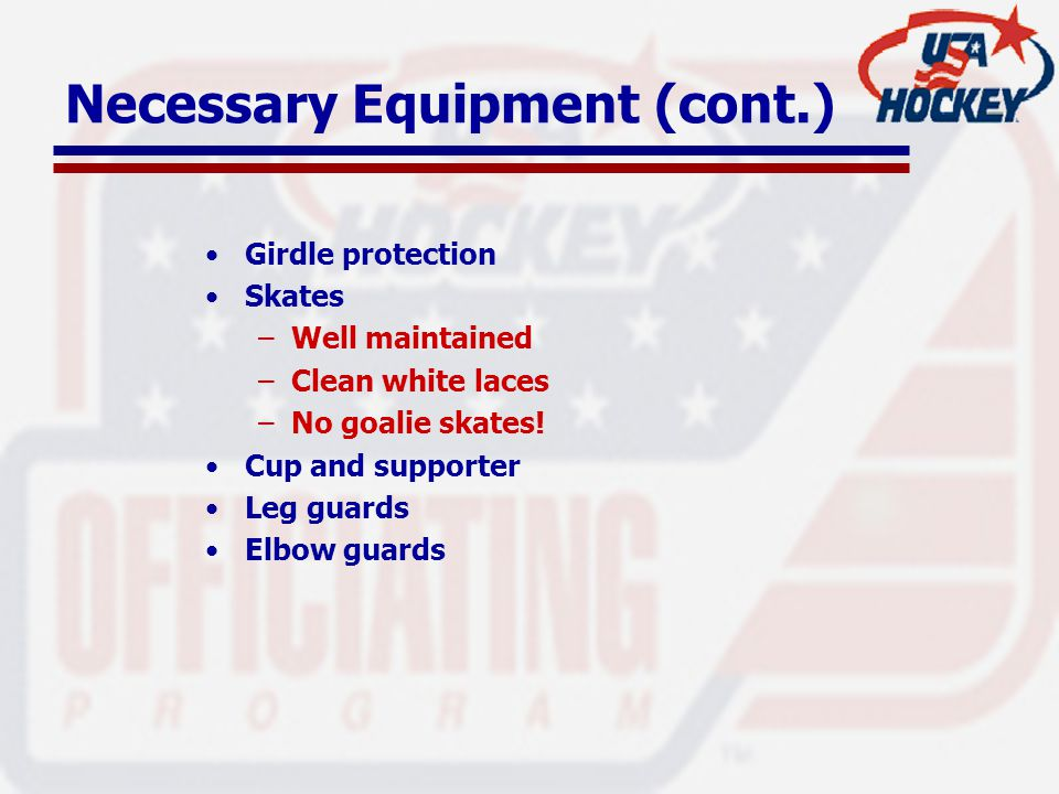 Necessary Equipment (cont.) Girdle protection Skates –Well maintained –Clean white laces –No goalie skates.