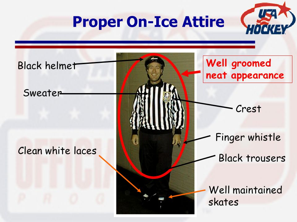 Proper On-Ice Attire Black helmet Sweater Crest Black trousers Finger whistle Clean white laces Well maintained skates Well groomed neat appearance