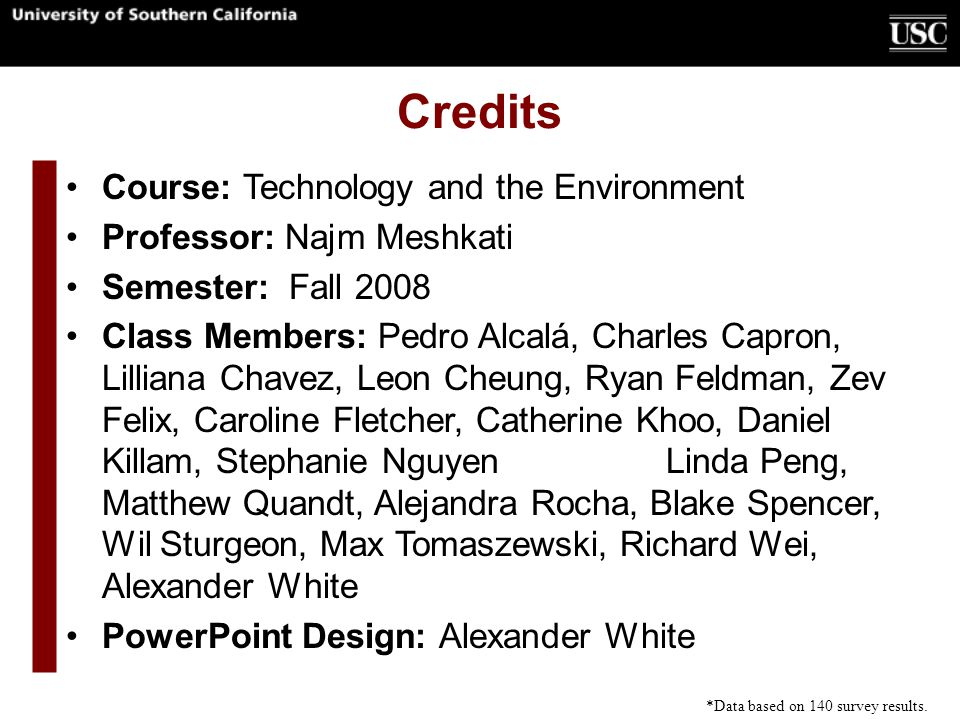 Credits Course: Technology and the Environment Professor: Najm Meshkati Semester: Fall 2008 Class Members: Pedro Alcalá, Charles Capron, Lilliana Chav