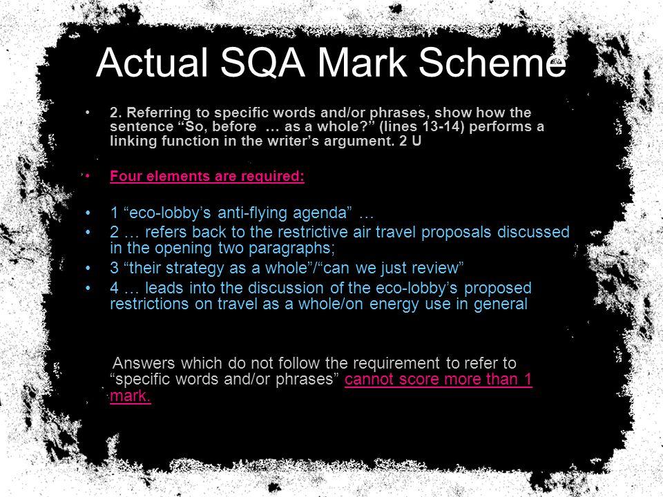 Actual SQA Mark Scheme 2.