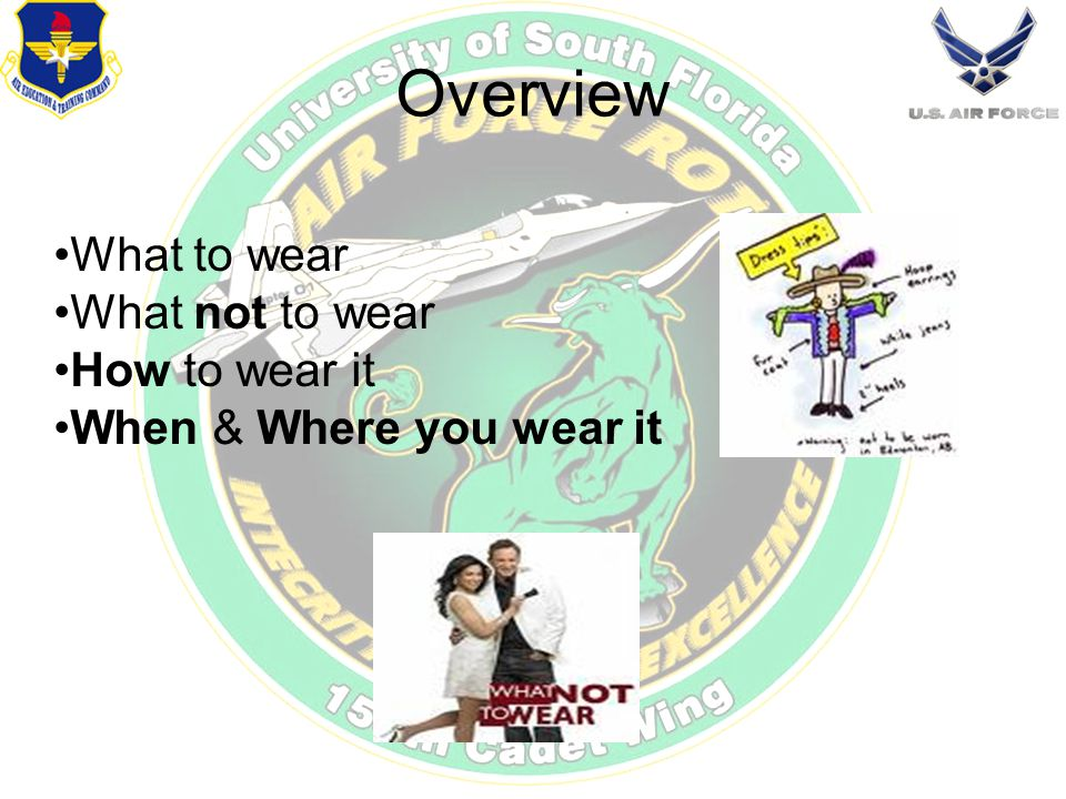 Overview What to wear What not to wear How to wear it When & Where you wear it