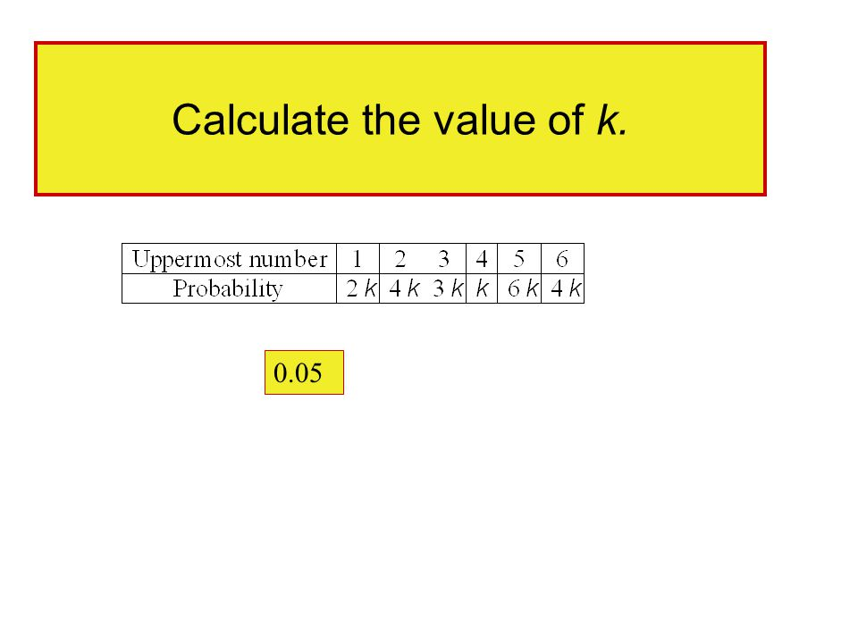 Calculate the value of k. 0.05