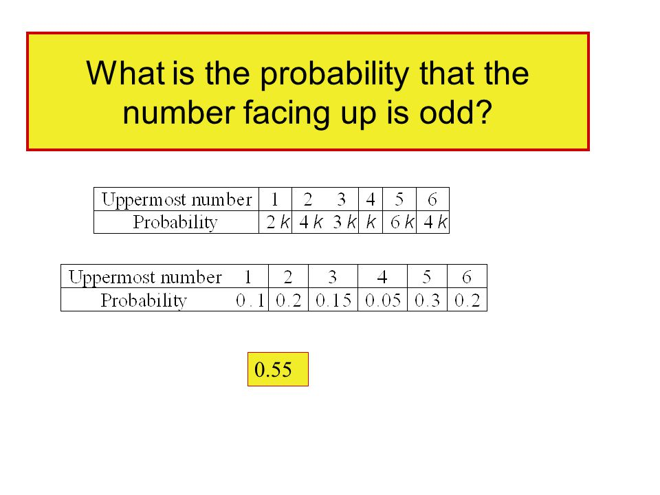 What is the probability that the number facing up is odd? 0.55