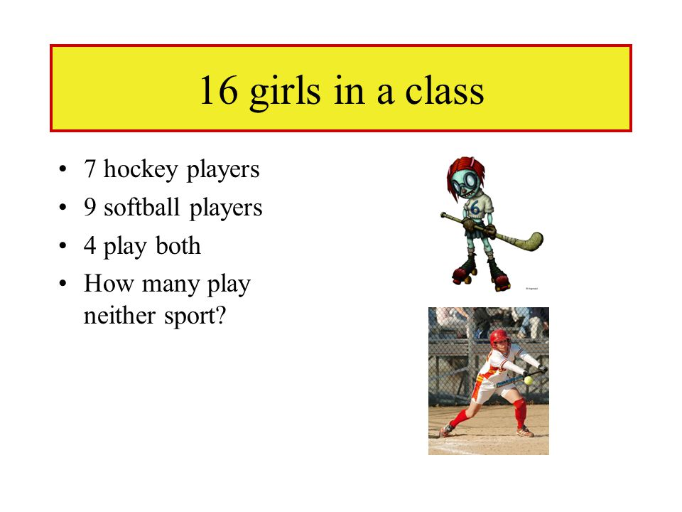16 girls in a class 7 hockey players 9 softball players 4 play both How many play neither sport