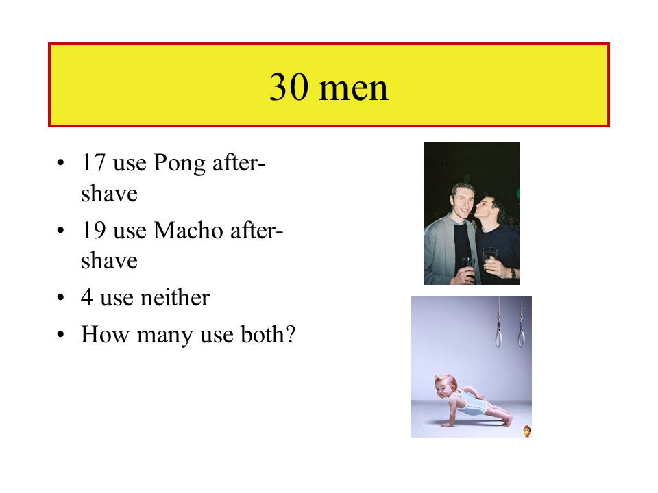 30 men 17 use Pong after- shave 19 use Macho after- shave 4 use neither How many use both?