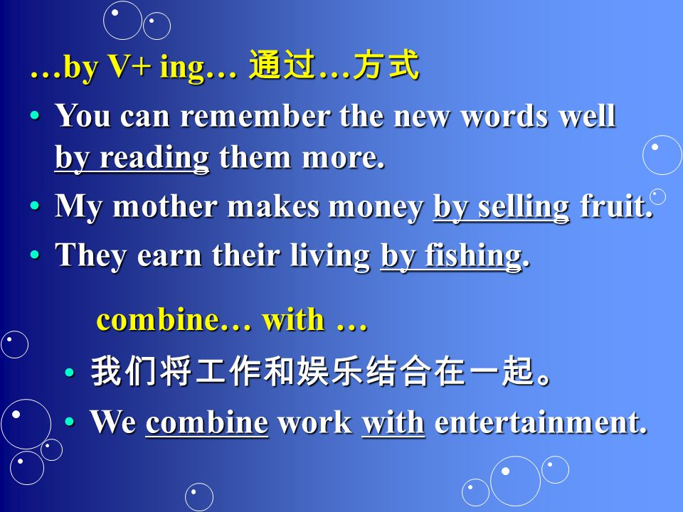 …by V+ ing… 通过 … 方式 You can remember the new words well by reading them more.You can remember the new words well by reading them more.