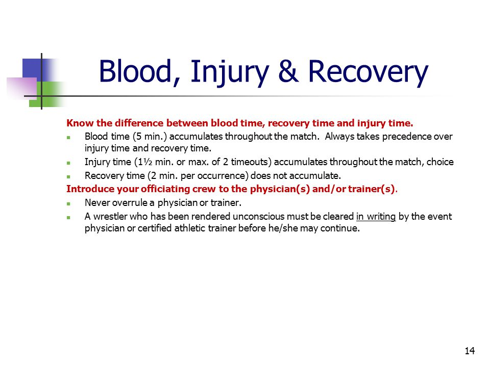 Blood, Injury & Recovery Know the difference between blood time, recovery time and injury time.