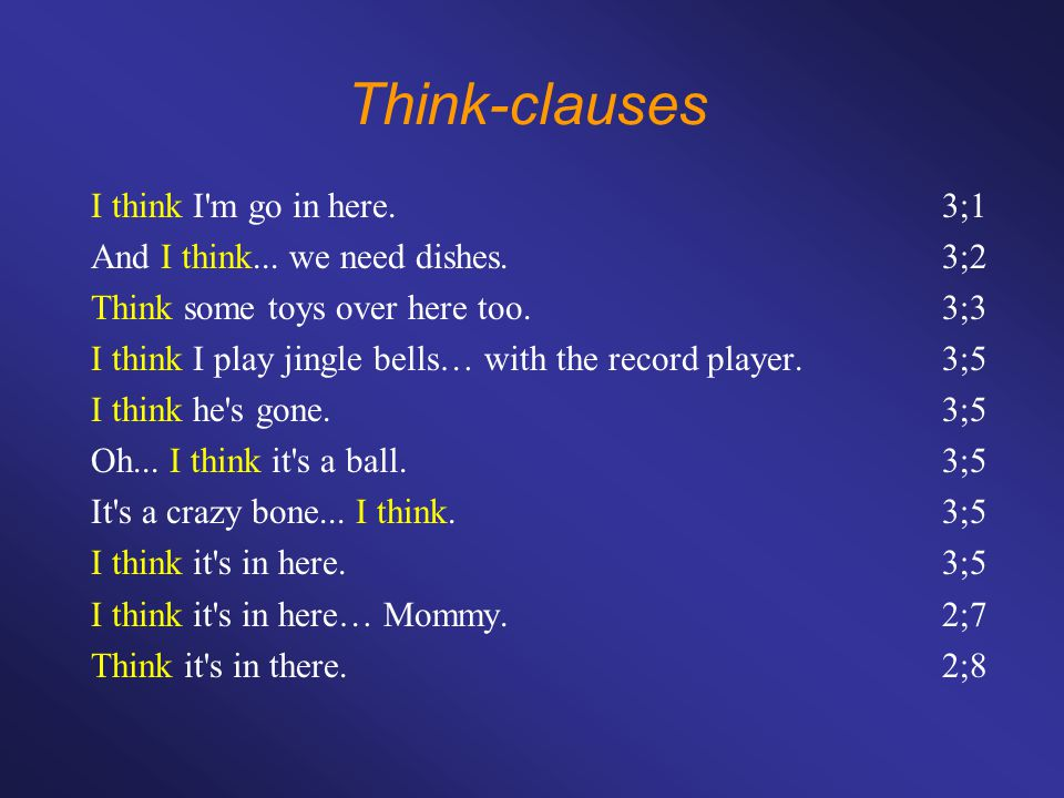 Think-clauses I think I m go in here.3;1 And I think...