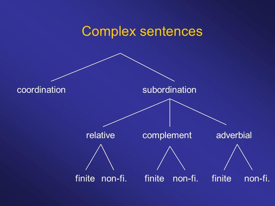 Complex sentences coordinationsubordination complementrelativeadverbial finite non-fi.