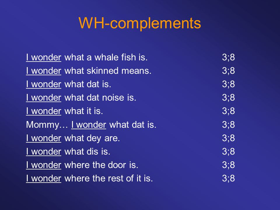 WH-complements I wonder what a whale fish is.3;8 I wonder what skinned means.3;8 I wonder what dat is.3;8 I wonder what dat noise is.3;8 I wonder what it is.3;8 Mommy… I wonder what dat is.3;8 I wonder what dey are.3;8 I wonder what dis is.3;8 I wonder where the door is.3;8 I wonder where the rest of it is.3;8