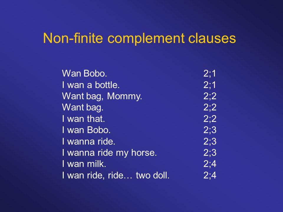 Non-finite complement clauses (i)modality V > manipulative V > cognition-utterance V (ii)NP-V-VP>NP-V-NP-VP (iii)bare infinitives >to-infinitives > wh-infinitives (iv)nonfinite complement >finite complement