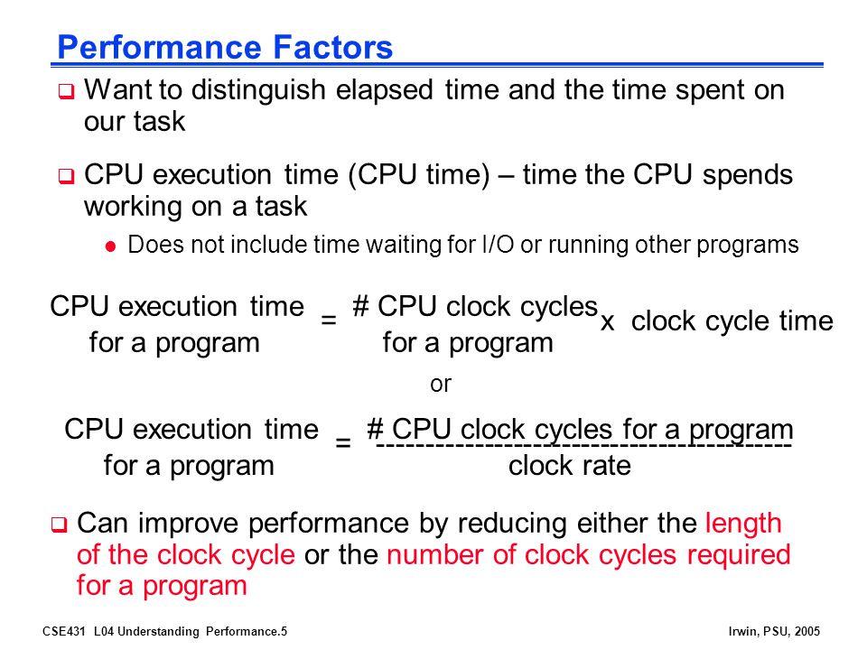 CSE431 L04 Understanding Performance.16Irwin, PSU, 2005 Example SPEC Ratings