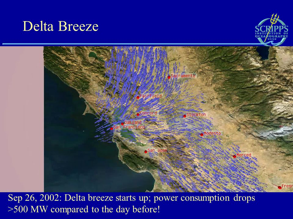 Delta Breeze Sep 26, 2002: Delta breeze starts up; power consumption drops >500 MW compared to the day before!