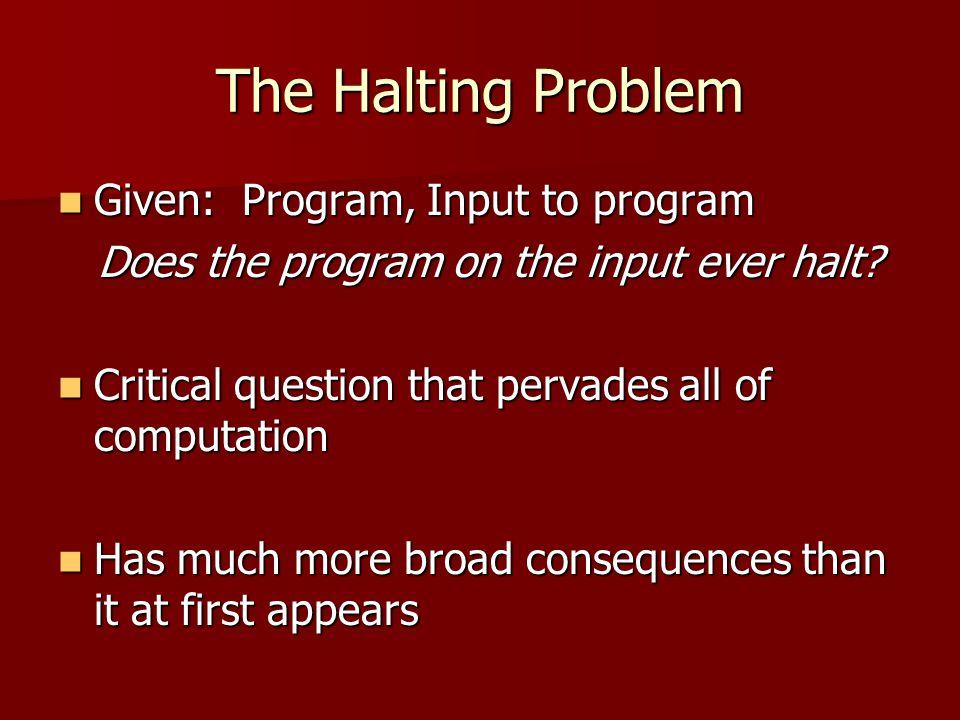 The Halting Problem Given: Program, Input to program Given: Program, Input to program Does the program on the input ever halt.