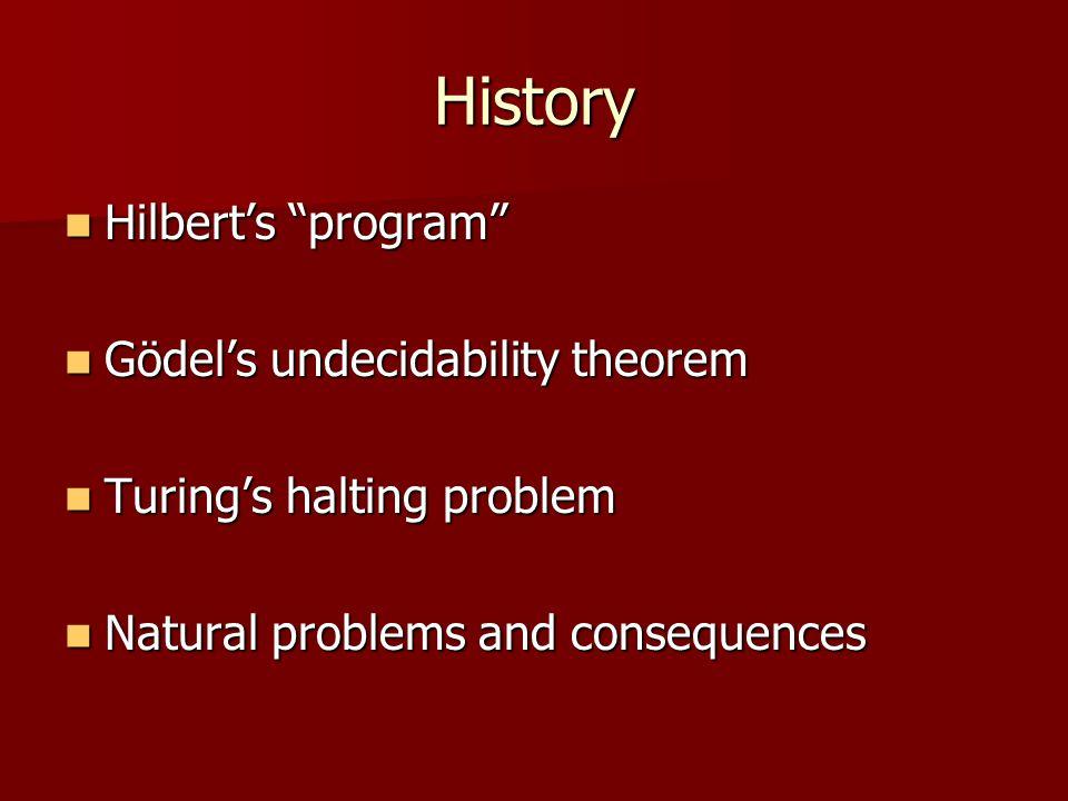 History Hilbert's program Hilbert's program Gödel's undecidability theorem Gödel's undecidability theorem Turing's halting problem Turing's halting problem Natural problems and consequences Natural problems and consequences