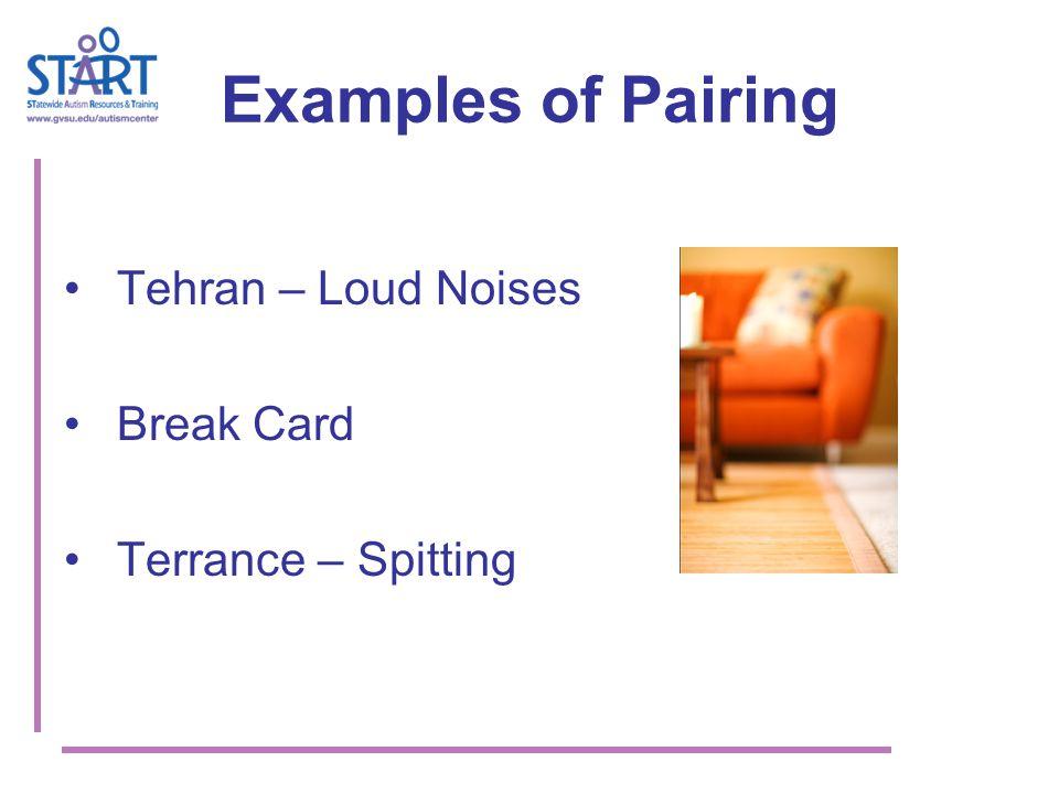 Examples of Pairing Tehran – Loud Noises Break Card Terrance – Spitting