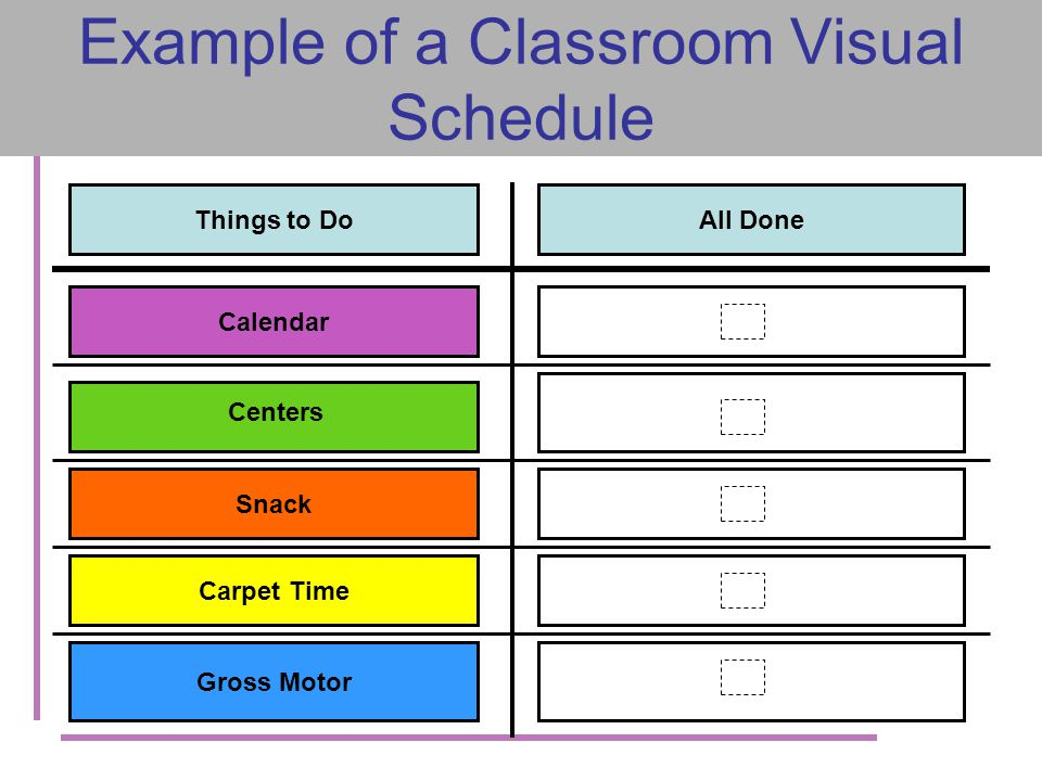 Example of a Classroom Visual Schedule Things to DoAll Done Calendar Centers Snack Carpet Time Gross Motor