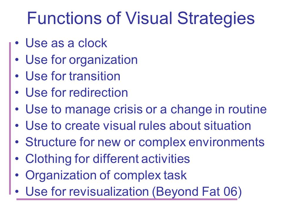 Functions of Visual Strategies Use as a clock Use for organization Use for transition Use for redirection Use to manage crisis or a change in routine Use to create visual rules about situation Structure for new or complex environments Clothing for different activities Organization of complex task Use for revisualization (Beyond Fat 06)