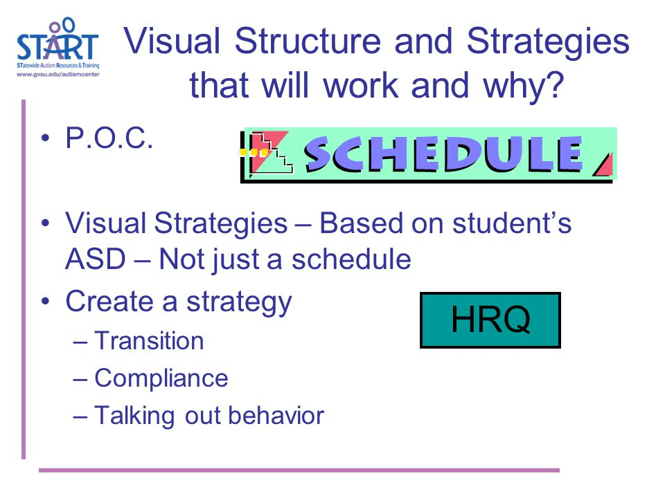 Visual Structure and Strategies that will work and why.
