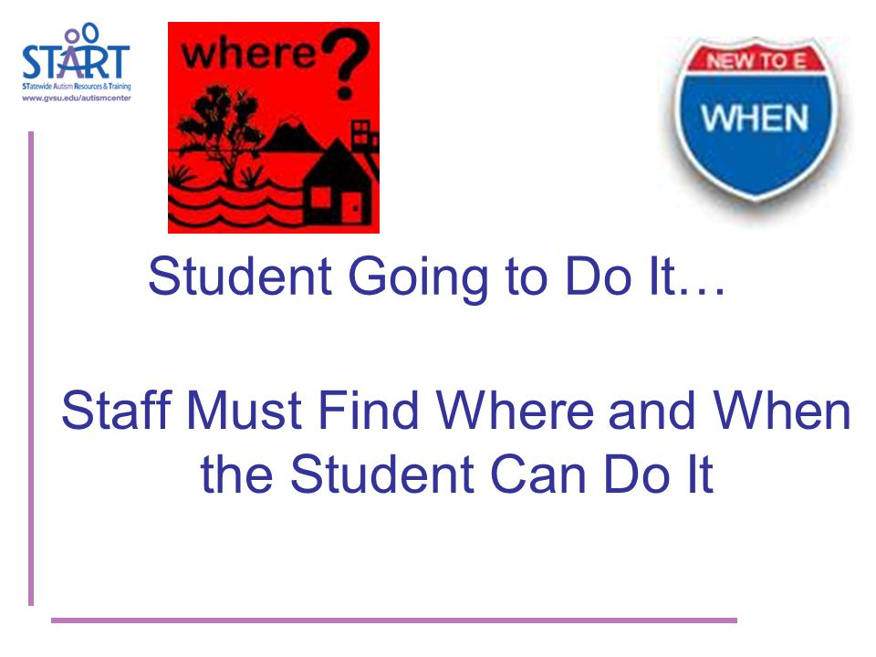 Student Going to Do It… Staff Must Find Where and When the Student Can Do It