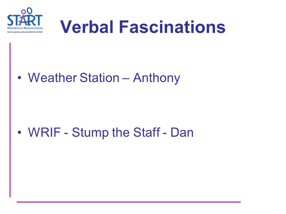 Verbal Fascinations Weather Station – Anthony WRIF - Stump the Staff - Dan
