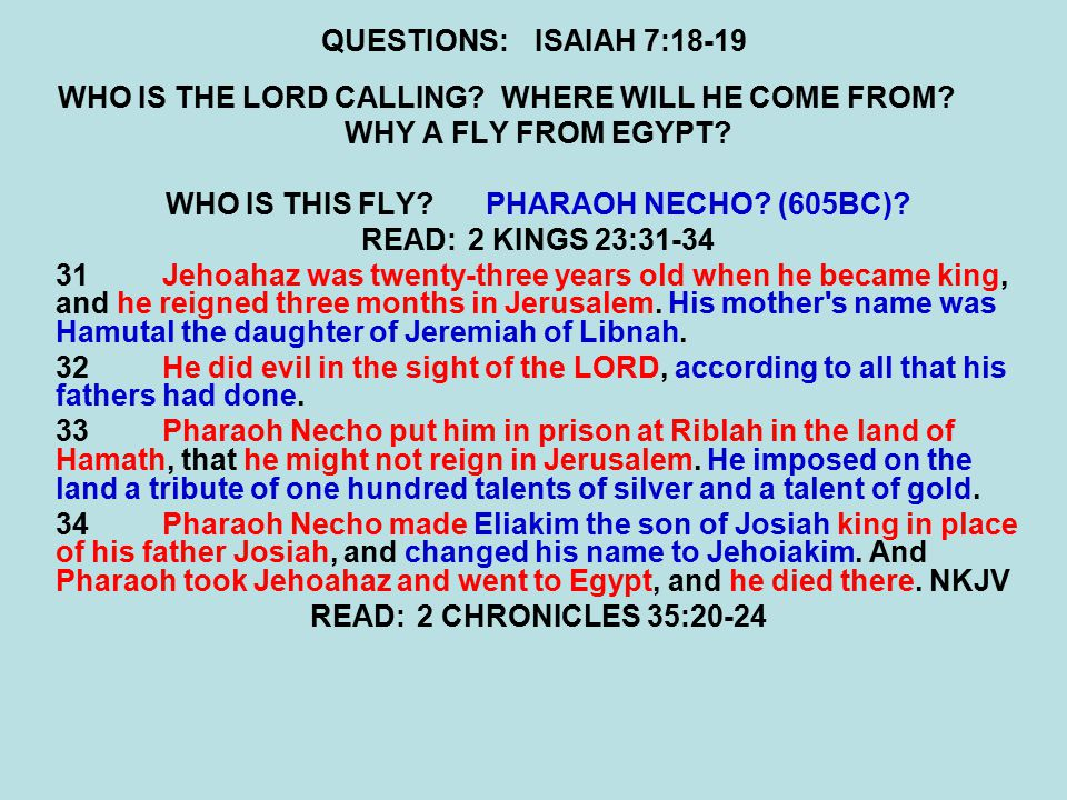 QUESTIONS:ISAIAH 7:18-19 WHO IS THE LORD CALLING? WHERE WILL HE COME FROM? WHY A FLY FROM EGYPT? WHO IS THIS FLY?PHARAOH NECHO? (605BC)? READ:2 KINGS