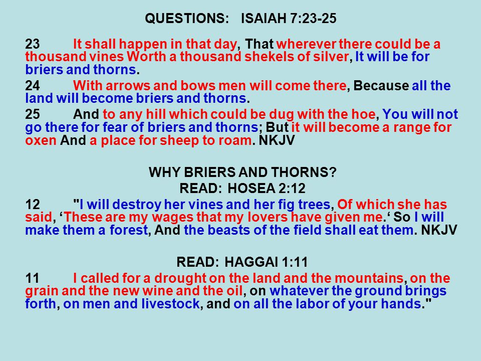 QUESTIONS:ISAIAH 7:23-25 23It shall happen in that day, That wherever there could be a thousand vines Worth a thousand shekels of silver, It will be f