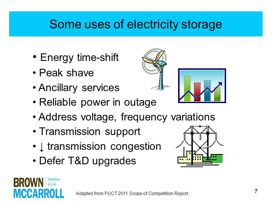 77 Some uses of electricity storage Energy time-shift Peak shave Ancillary services Reliable power in outage Address voltage, frequency variations Transmission support ↓ transmission congestion Defer T&D upgrades Adapted from PUCT 2011 Scope of Competition Report
