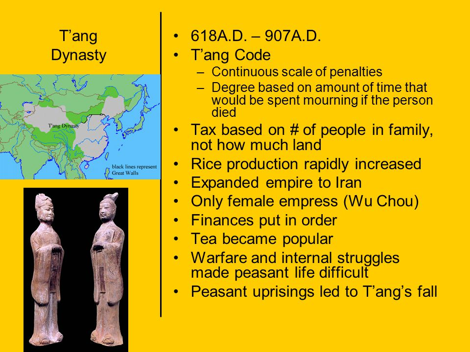 T'ang Dynasty 618A.D. – 907A.D. T'ang Code –Continuous scale of penalties –Degree based on amount of time that would be spent mourning if the person d