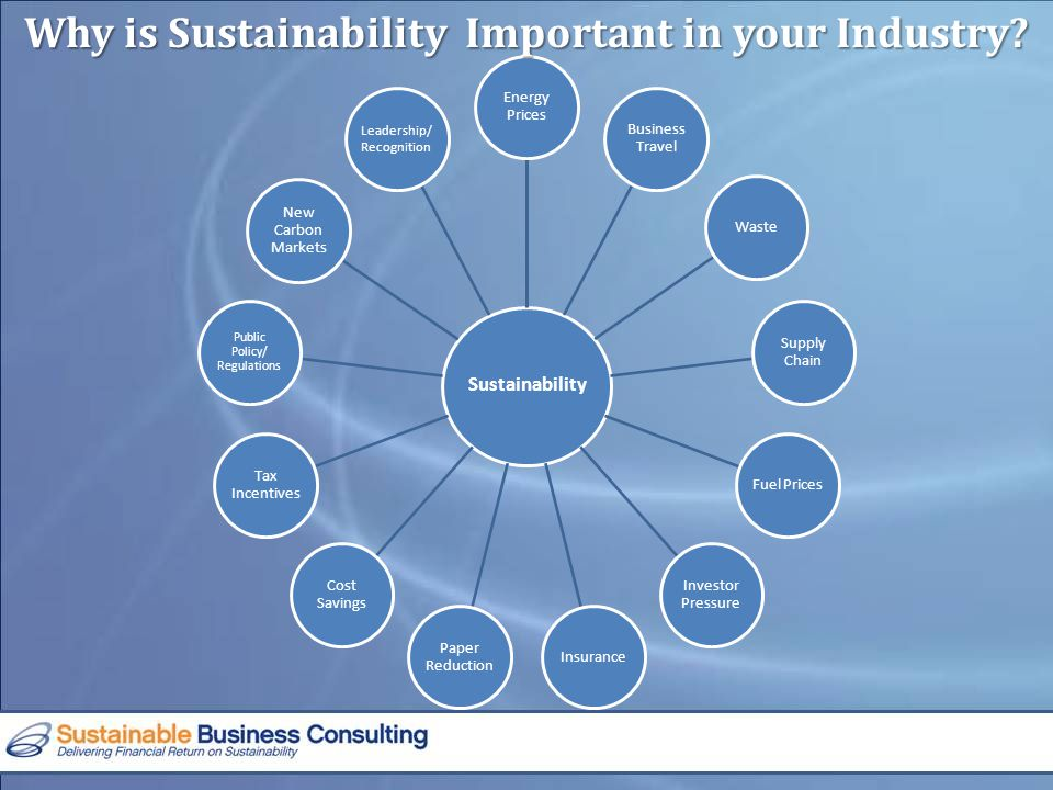Sustainability Energy Prices Business Travel Waste Supply Chain Fuel Prices Investor Pressure Insurance Paper Reduction Cost Savings Tax Incentives Public Policy/ Regulations New Carbon Markets Leadership/ Recognition Why is Sustainability Important in your Industry