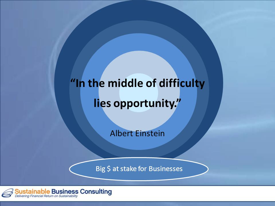 Big $ at stake for Businesses In the middle of difficulty lies opportunity. Albert Einstein