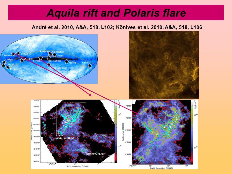 Aquila rift and Polaris flare André et al. 2010, A&A, 518, L102; Könives et al. 2010, A&A, 518, L106