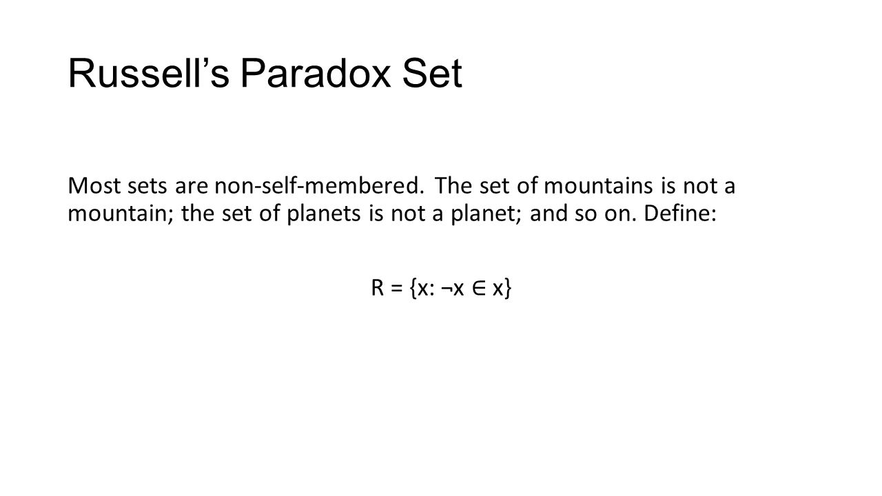 Russell's Paradox Set Most sets are non-self-membered.