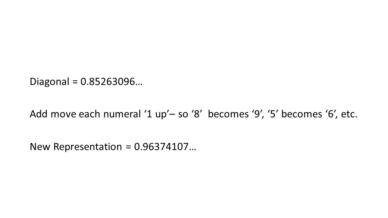 Diagonal = 0.85263096… Add move each numeral '1 up'– so '8' becomes '9', '5' becomes '6', etc.