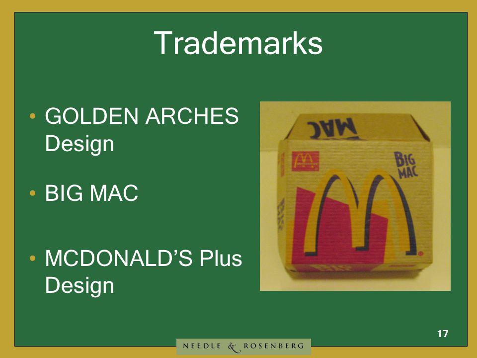 16 Service Marks GOLDEN ARCHES Design MCDONALD'S