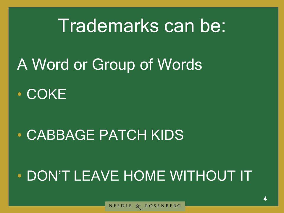 """3 A trademark or """"brand name"""" comprises """"anything"""" that identifies the source of goods or services from those of another when used in commerce. What i"""